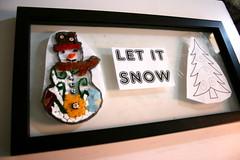 Let It Snow - WIP (EarthMotherMosaics) Tags: snowman earthmothermosaics glassonglass pinetree letitsnow stainedglass wintertheme