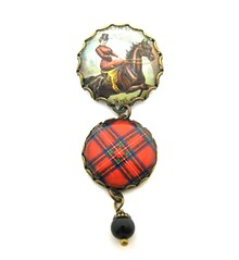 Ancient Romance Series - Scottish and Irish Tartans Collection - Royal Stewart Baroness Victorian Equestrian Fob Brooch with Mystic Black Swarovski Crystal Pearl Charm
