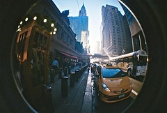 42nd Street (timnutt) Tags: cab yellow taxi chryslerbuilding grandcentral terminal analogue film 35mm lomo lomography newyork nyc fisheye surreal