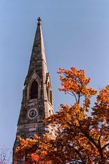 Church Steeple #1, Goshen, New York (nsandin88) Tags: nikon ishootfilm church ny exploration kodakektar ektar100 fall film developedathome f4 tower filmisnotdead ektar outdoors goshen steeple nikonf4 spire kodak