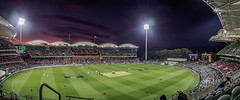 Day/Night Test Cricket (Anthony's Olympus Adventures) Tags: cricket testcricket sport sports team adelaide adelaidecbd adelaideoval stadium ground arena pitch sunset southafrica australia sa southaustralia panorama landscape stunning wow beautiful amazing photo photogenic grandstand seat view panoramic event colourful sundown night nightime afterdark dark cricketing olympusem10 olympus olympusomd