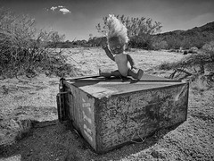 Greetings from 29 Palms, CA! (East of 29) Tags: greetings 29palms ammobox doll bw sliderssunday conanhair