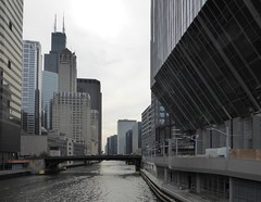 Chicago, Chicagol River, Looking South to the Randolph Street Bridge (Mary Warren (7.6+ Million Views)) Tags: chicago architecture building skyscraper blue chicagoriver water cityscape skyline urban