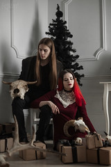 IMG_0018 (rodinaat) Tags: new year happy holiday tree christmas skull goat satan brutal metal metalhead longhaie redhair red black