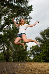 Where in the woods are you? (Flickr_Rick) Tags: jump jumping jumpology outside summer woman blond girl athetic beautiful breanne