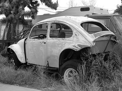 The Old Volks Home (25M) - 24 October 2016 (John Oram) Tags: vw volkswagen vwbeetle frenchs theautoclinic yuccavalley mono bw 2002p1140320m