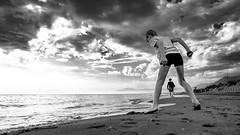 Spain - Mum & Son in the Sun (Drummerdelight) Tags: blackwhite beach seaside sky