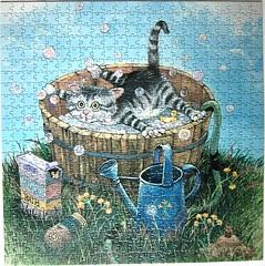 Bath Time (Gary Patterson) (Leonisha) Tags: puzzle jigsawpuzzle cat chat katze bath badezuber bad