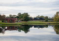 Reflections (ajketh) Tags: pond water reflection clouds ns 2581 sd70m 789 coal hopper freight train rail railroad norfolk southern