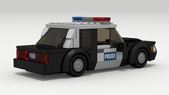 Ford Mustang Police (rear view) (Tom.Netherton1) Tags: ford mustang fox body classic vintage v8 american america vehicle coupe 1980s 1990s speed speedster sport sports muscle city car cars pony lego legos ldd digital designer dropbox download lxf pov povray 2door indoor police cruiser cop