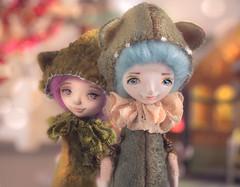 Teddy dolls Blue thistle and Liatris (Ksyusha Pol'd) Tags: artdolls teddydoll liatris woodenbox ooakartdoll mixedmedia art poseabledoll fantasydoll woodland fairytale miniature