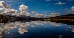 Landscape Reflecting Sky (Brian Travelling) Tags: reflection scotland highland highlands water loch lochgarry nature natural clouds uk