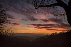Forbidden View (cliveg004) Tags: midsummerhill hollybush malvernhills worcesterhsire herefordshire gloucestershire sunset trees mist clouds sky countryside nikon d5200 rural