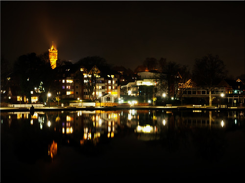 The city bay in Eutin by night