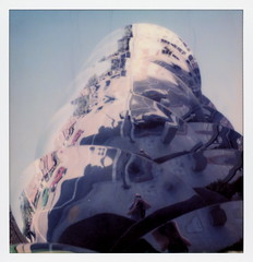 Triple Selfie (tobysx70) Tags: the impossible project tip polaroid sx70sonar sonar instant color film for sx70 type cameras impossaroid triple selfie whole flow by buster simpson foods market south arroyo parkway pasadena california ca fountain sculpture public art stainless steel reclaimed grey recycled water irrigation self portrait reflection blue sky toby hancock photography