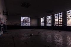 The sun still rises. (Caroleyene) Tags: abandoned school utah graffiti sunrise windows vandalism