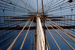 A-mast-ing (zawtowers) Tags: blue summer white hot building london sunshine contrast work high dock warm ship tea quality greenwich royal july conservation dry sunny cable rope historic pole maritime borough mast cutty sark clipper se10