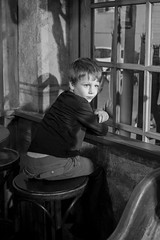 Adrien at the window sill (koalie) Tags: portrait bw france bar nightshot nb adrien juanlespins provencealpesctedazur byvv06 byvlad antibesjuanlespins lezapata