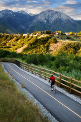 Early Morning Bicyclist (Utah Images - Douglas Pulsipher) Tags: road morning summer people mountain nature bike bicycle fun outside outdoors bicycling utah athletic healthy wasatch day ride exercise natural outdoor path helmet lifestyle gear trail riding saltlakecity biking biker bicyclist daytime recreation bikelane wilderness peaks activity protective asphalt fitness protection fit active mountolympus bikeriding paved recreational exercising twolane parleystrail