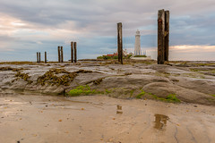 St Mary's and Posts (Callaghan69) Tags: uk morning sea summer england sky lighthouse seascape beach clouds sunrise landscape coast seaside sand nikon scenery rocks colours post north east nd filters density whitleybay neutral tyneandwear cokin stmaryslighthouse d7100 wildaboutnorthumberland