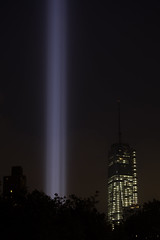 Tribute in Lights (adrianmojica) Tags: world new york city nyc light ny night memorial 911 center september twintowers wtc 11th trade