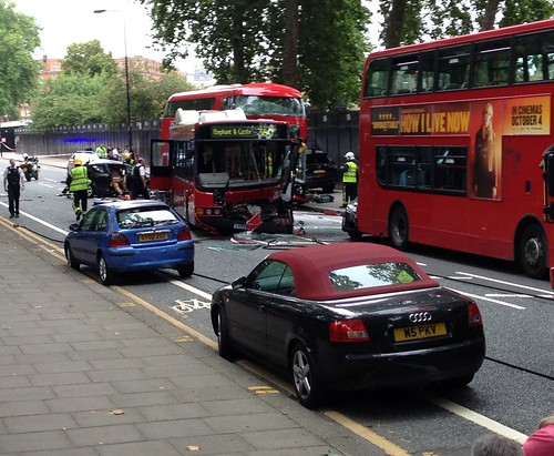 Chelsea Bridge Road bus crash by John Pannell, on Flickr