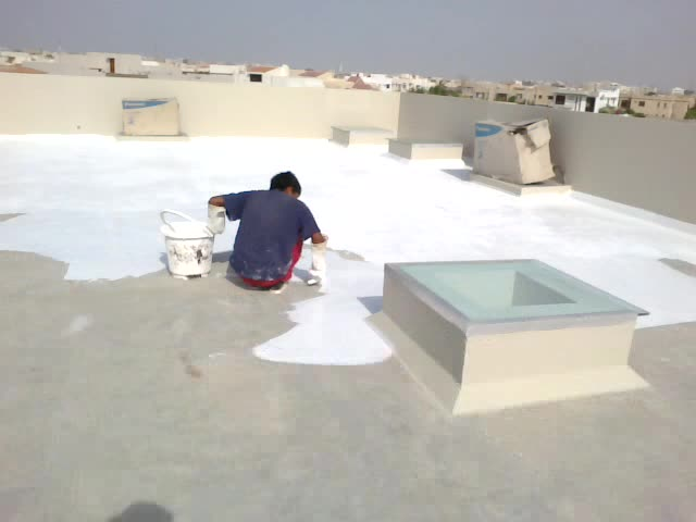 application of roof heat proofing  at DHA karachi (2)