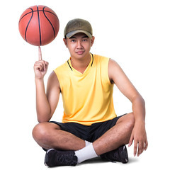 Teenager boy sitting with basketball, Isolated over white with clipping path (Patrick Foto ;)) Tags: boy portrait people white playing man game male sports smiling basketball sport shirt youth ball asian thailand happy person one kid athletic student healthy holding sitting child play hand basket exercise background young handsome lifestyle player teen health thai teenager casual athlete gym isolated trainer sportsman fit active teenage clippingpath