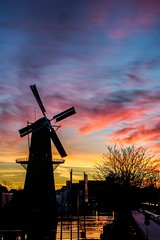 Colorfull Sunset (Peter Witberg) Tags: blue light sunset portrait sky black reflection art water netherlands windmill silhouette yellow night clouds landscape licht zonsondergang nikon blauw outdoor wolken zwart molen schiedam d7100 pwpartlycloudy