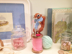 the tailor squirrel (mary's merryland) Tags: squirrel crafts felt needlefelting tailor spool feltedanimal