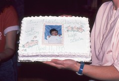 Amy's Birth Cake, being held by Mumsy (tshiverd) Tags: black cake amy birth brenda 1990 mumsy
