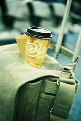 Travel size (Shibaji Dattagupta Photography) Tags: street travel hot green film coffee 35mm canon vintage bag airport colorful ae1 superia trolley retro program fujifilm leisure cappuchino messanger thinktank