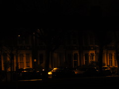meynell crescent e9 looking north east from well street common at night, 2014-02-18, 01-26-16 (tributory) Tags: road street city longexposure houses light urban london yellow night highway streetlight parking vehicles electricity housing hackney e9 eastlondon streetlighting