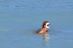 Blue Lagoon: White Face, Dark Glasses (AntyDiluvian) Tags: trip vacation woman holiday water pool girl june iceland skin bluewater lagoon scandinavia geothermal bluelagoon whiteface icelandic cleanse exfoliate whitemask 2013 silicamud silicamudmask