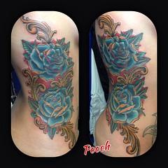 Cover up #roses #rosetattoo @neotatmachines @fusionink_ca #tattoo #alteredstatetattoo #lakeworthtattoo #westpalmbeachtattoo #pooch_art