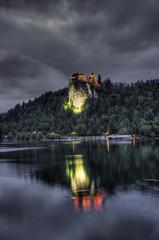 Bled Castle (John_Images) Tags: travel lake castle canon nighttime slovenia bled hdr 600d