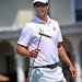 Austrailian golfer Adam Scott walks off the green during US Open practice at Pinehurst No. 2.