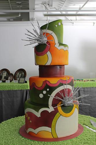 Illustrated Airbrushed Wedding Cake