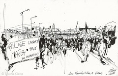 La Manifestation | Calais 23 Janvier (Laura Genz) Tags: migrant migrants rfugi rfugis refugee refugees campement camp jungle calais france 2016 afrique africa soudan sudan erythre erythrea libye libya afghanistan afghan irak dessin drawing sketch ink manifestation demonstration protest sans papiers sanspapiers collectif csp cispm