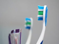 (marina_felix) Tags: dailyroutines toothbrush mirror bathroom blue green reflection toothpaste