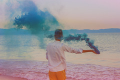 rectifier (Denis Naccari) Tags: man young summer ends canon 33mm film youth portrait seaside smoke bombs color minimal hippy photography sensational hipster retro vintage magical vsco