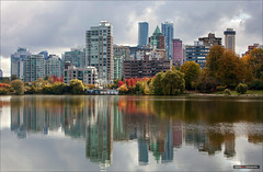 The Colours Of The West End (Clayton Perry Photoworks) Tags: vancouver bc canada explorebc explorecanada autumn fall outdoor skyline panorama fallcolours fallcolors leaves stanleypark lostlagoon reflections red