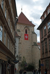 Church of Our Lady under the Chain, Prague (stephengg) Tags: prague praha czech republic church our lady under chain kostel panny marie pod etzem tower red white maltese flag cross
