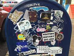 mailbox Street Stickers Denver (labeauratoire) Tags: denver colorado denverstreetart streetartdenver graffiti streetart onthestreetindenver onthestreetin streetstickers stickers stickerbomb stickergame