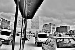 Harry Worth(y)? (innpictime  ) Tags: car architecture windows reflection retinex waterfront liverpool merseyside mannisland 534030442993771 van hilton dock workers lunchbreak plateglass