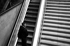 Easy Option (StevePilbrow) Tags: black white elevator moving stairs man alone commute work barcelona local catalunya spain october 2016 nikon d7200 nikkor 18105mm las ramblas