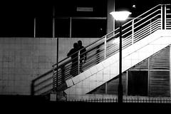 Under the street lamp (pascalcolin1) Tags: paris13 nuit night homme man réverbère lampost streetlampescalierstaircasephoto de ruestreet viewurban artenoir et blancblack whitephoto pascal colin