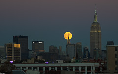 Super Moon (mailhog00) Tags: supermoon nyc moonrise empirestate chryslerbuilding
