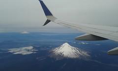 Mount Hood (im me) Tags: oregon washington mounthood mountadams snow airplane wing clouds airborne landscape smoke volcano cascades