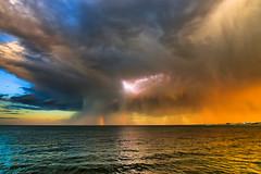 Colorful Storm (JoshBlash) Tags: lightning rainbow sunset dusk storm clouds weather photography landscape horizon nature sky figment joshblash jb explore outdoor newhampshire newengland nh beach ocean sea water coast canon